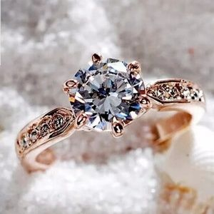 rose gold cz prong round Engagement